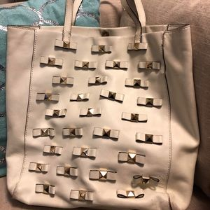 Kate Spade White Bow Tote Bag Used Condition